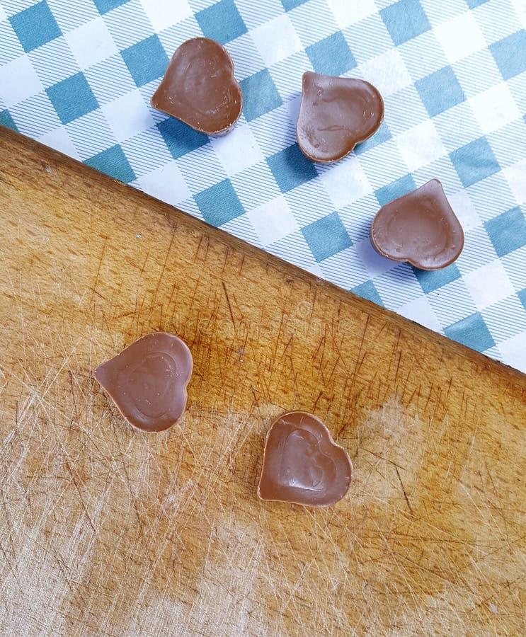 Zoete chocoladeharten royalty-vrije stock foto's
