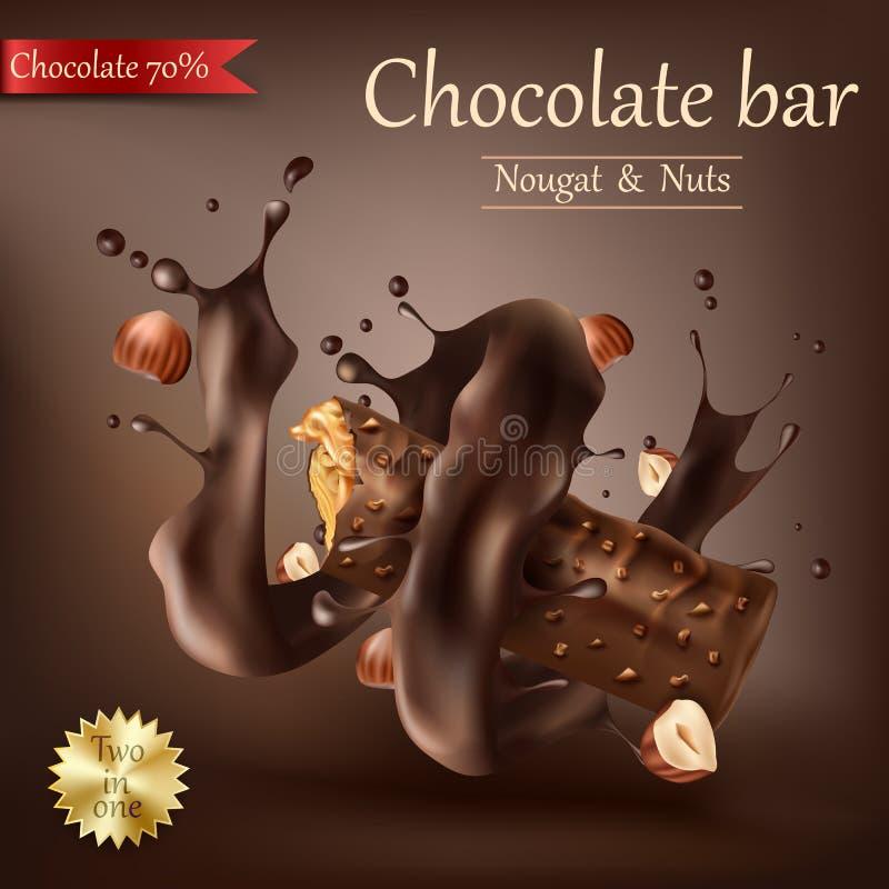 Zoete chocoladereep met spiraal gesmolten chocolade vector illustratie