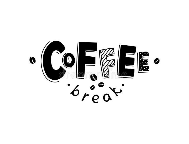 Zoete croissant en een kop van koffie op de achtergrond Het vector zwart-witte van letters voorzien royalty-vrije illustratie