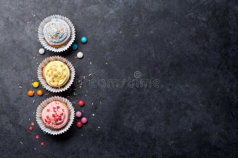 Zoete cupcakes stock afbeeldingen