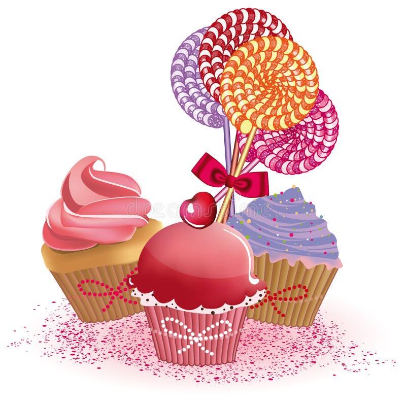 Zoete cupcakes stock illustratie