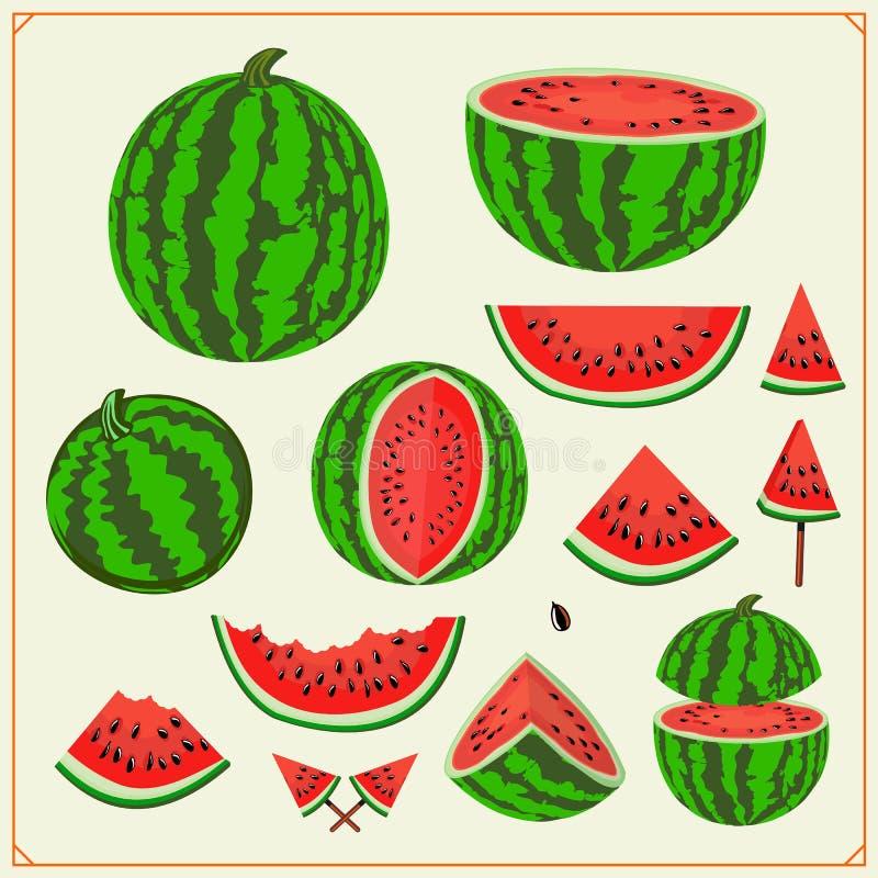 Zoete de zomerreeks Gehele watermeloenen en sappige watermeloenplakken Het ontwerpelementen van de de zomeraffiche vector illustratie