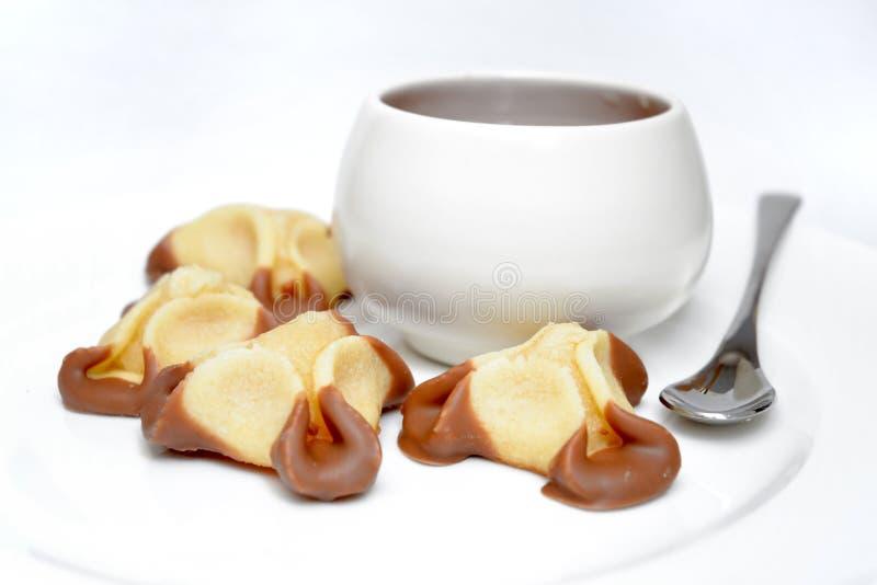 Zoete dessert en kop van koffie stock afbeelding