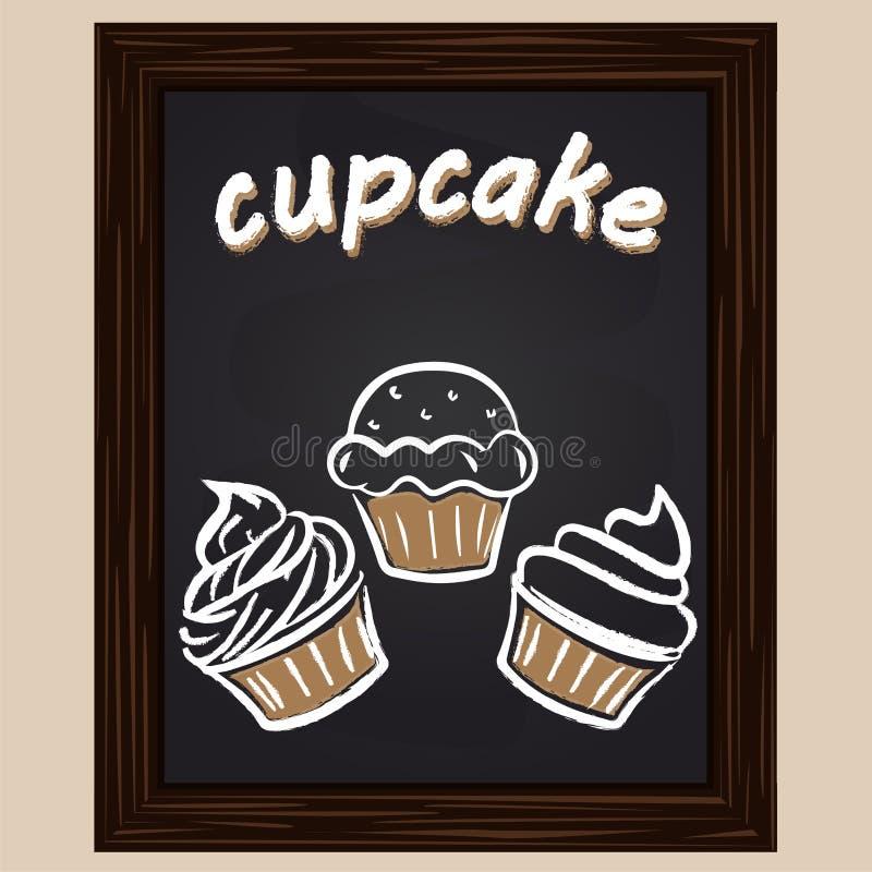 Zoete die cupcake drie met krijt wordt geschilderd stock illustratie