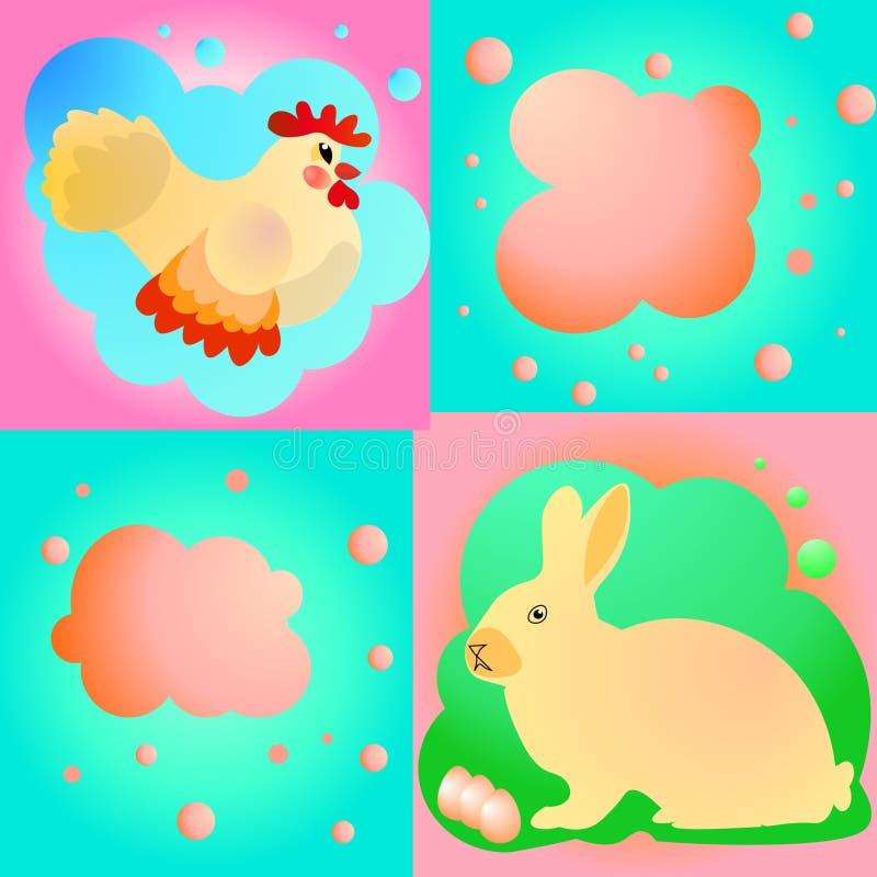 Zoete die Pasen met kip en konijn wordt geplaatst royalty-vrije illustratie