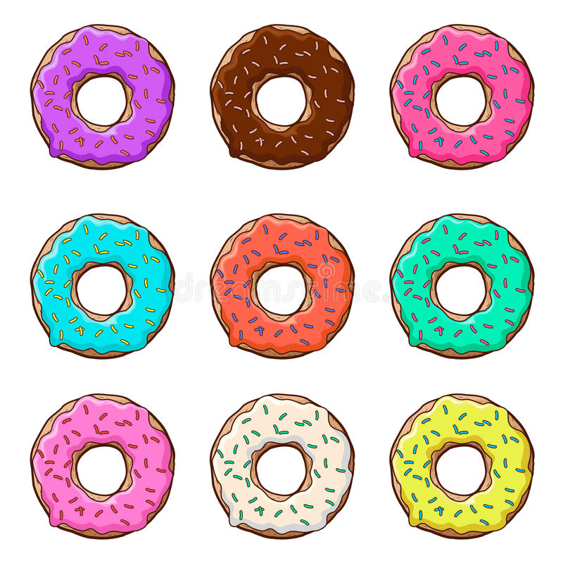 Zoete donuts plaatsen met suikerglazuur en bestrooit geïsoleerd, achtergrond Vector stock illustratie