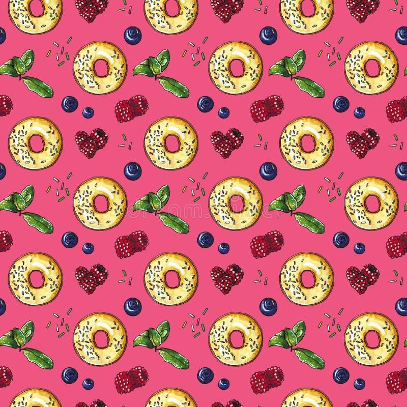 Zoete doughnut met vers bessen naadloos patroon op roze royalty-vrije illustratie