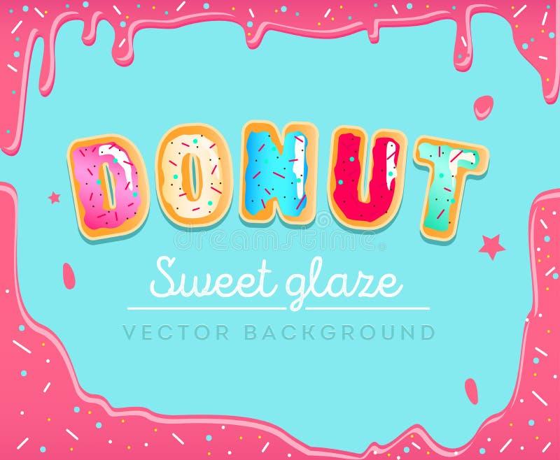 Zoete doughnutachtergrond met roze glans Kleurrijke kaart voor partij, stock illustratie