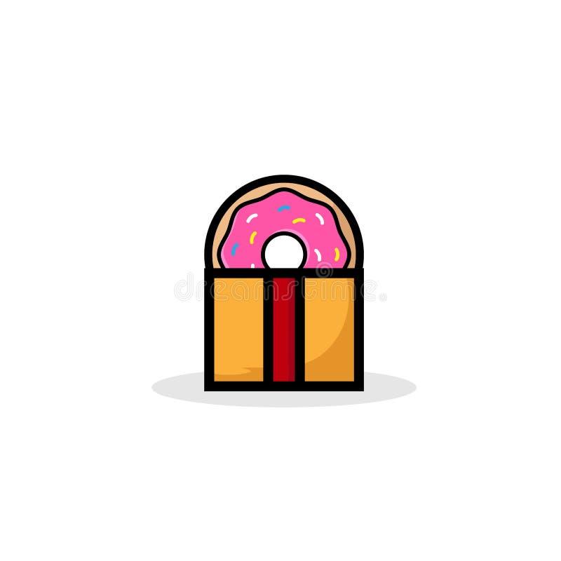 Zoete doughnutgift, doughnut met roze die glans op witte achtergrond wordt geïsoleerd Vectorillustratie in een beeldverhaalstijl  royalty-vrije illustratie