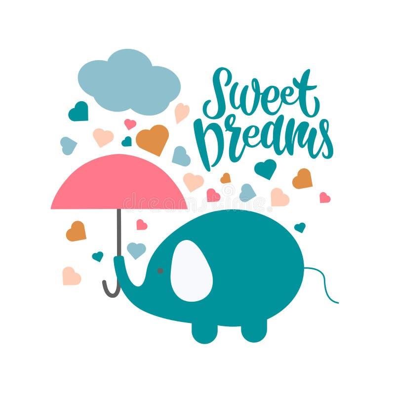 Zoete dromen kleurrijke hand getrokken vectorillustratie stock illustratie