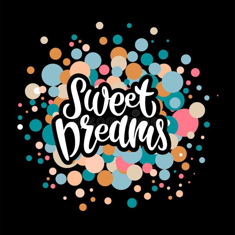 Zoete dromen kleurrijke hand getrokken vectorillustratie vector illustratie