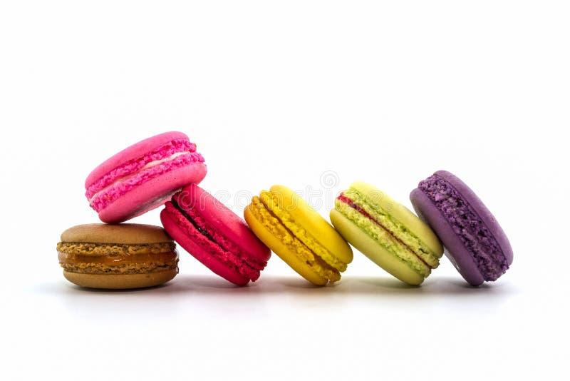 Zoete en kleurrijke Franse makarons of macaron, Dessert stock foto