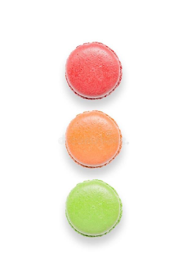 Zoete en kleurrijke Franse makarons of macaron Verkeerslichtvorm royalty-vrije stock afbeelding