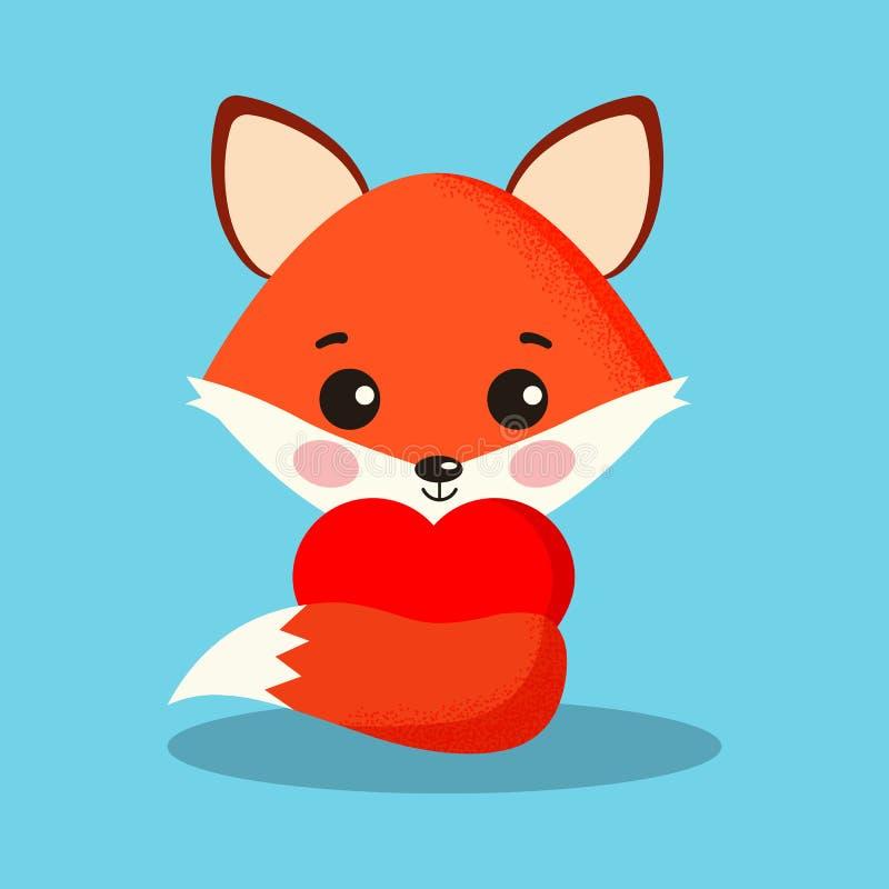Zoete en leuke vos met rood hart isolatrd op blauwe achtergrond vector illustratie