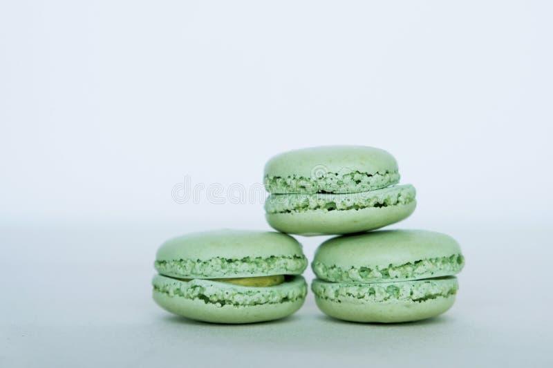 Zoete Franse macaronkoekjes Gebakje, patisserie en banketbakkerij o stock foto