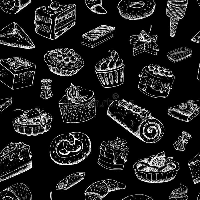 Zoete gebakjes op bord royalty-vrije illustratie