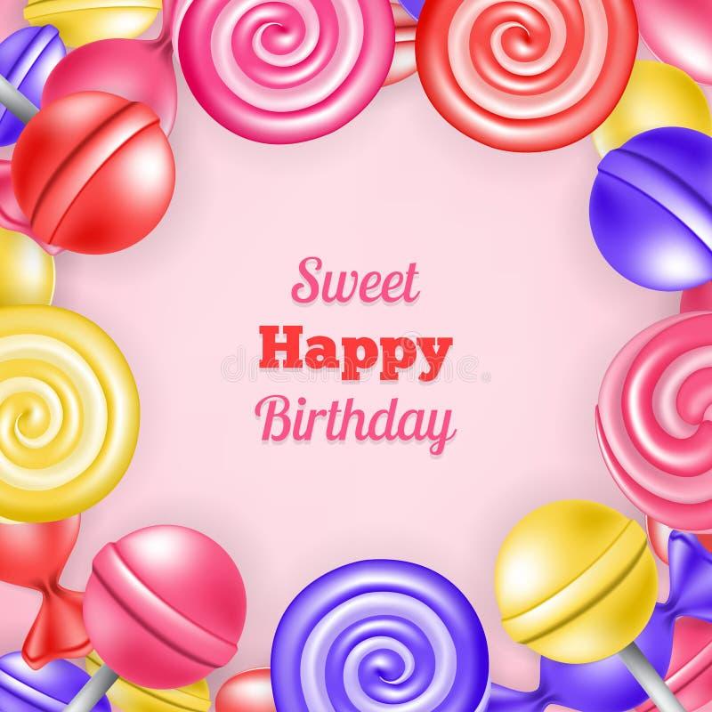 Zoete gelukkige verjaardag als achtergrond stock illustratie