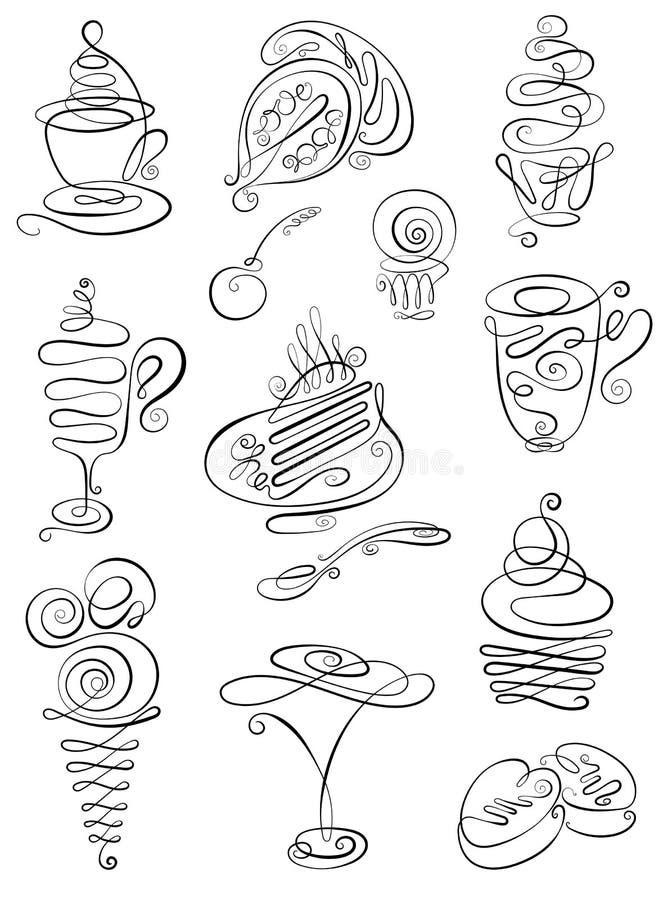 Zoete handgetekende doodles met koffie, thee, latte, cappuccino, cakes, dessert, chocolade, snoepjes, cake, cake, ijs voor consum stock illustratie