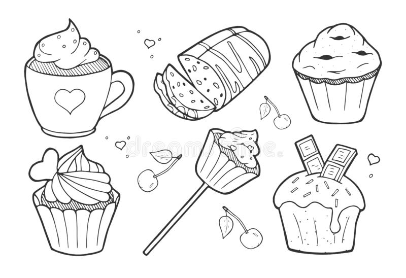 Zoete heerlijke geplaatste cakes vector illustratie