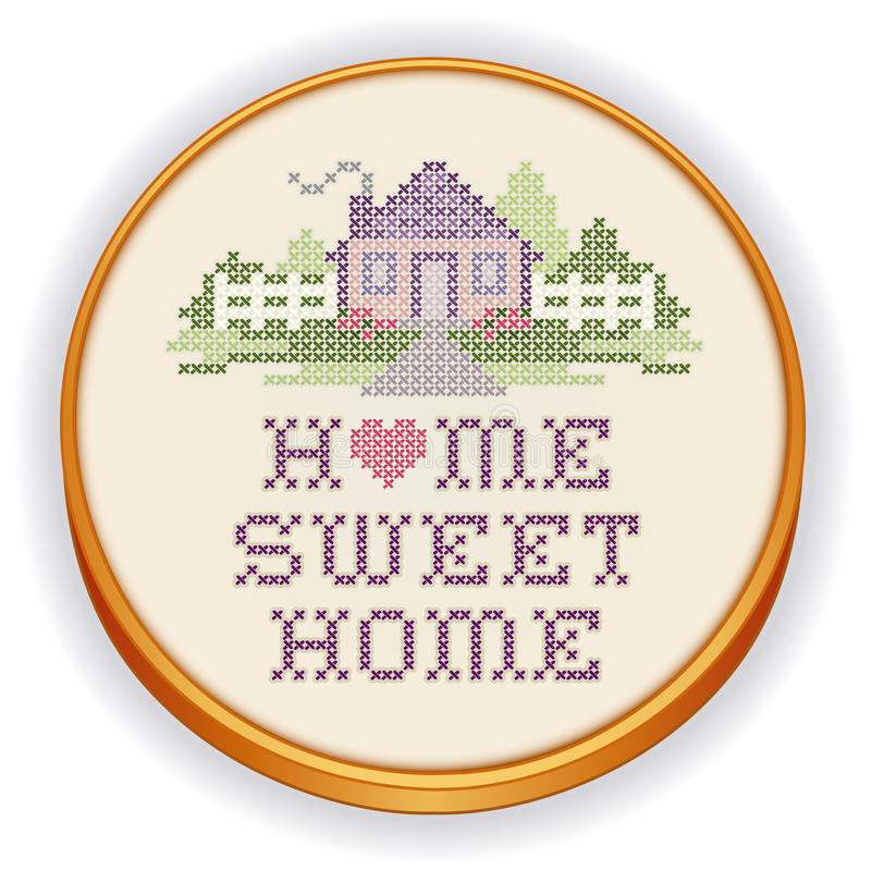 Zoete het Huis Dwarssteek van het borduurwerkhuis, Houten Hoepel vector illustratie