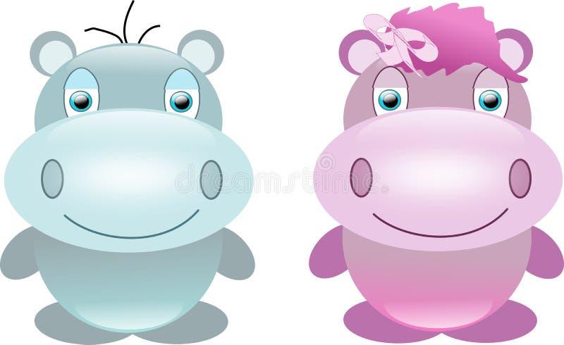 Zoete hippos vector illustratie