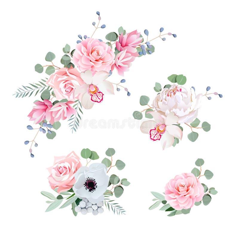 Zoete huwelijksboeketten van roze, pioen, orchidee, anemoon, camelia royalty-vrije illustratie