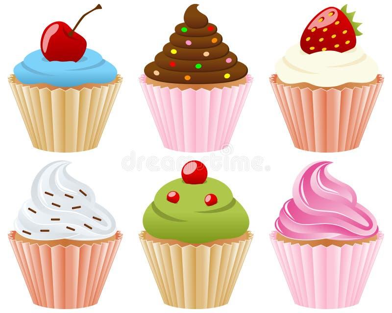 Zoete Inzameling Cupcakes vector illustratie
