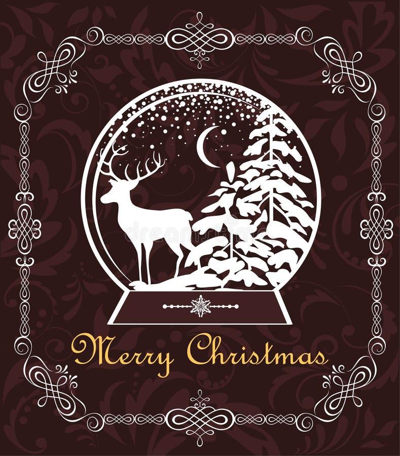 Zoete kaart van groet verwijderen de uitstekende Kerstmis met decoratief kader en het document bol met de winterlandschap en rend stock illustratie