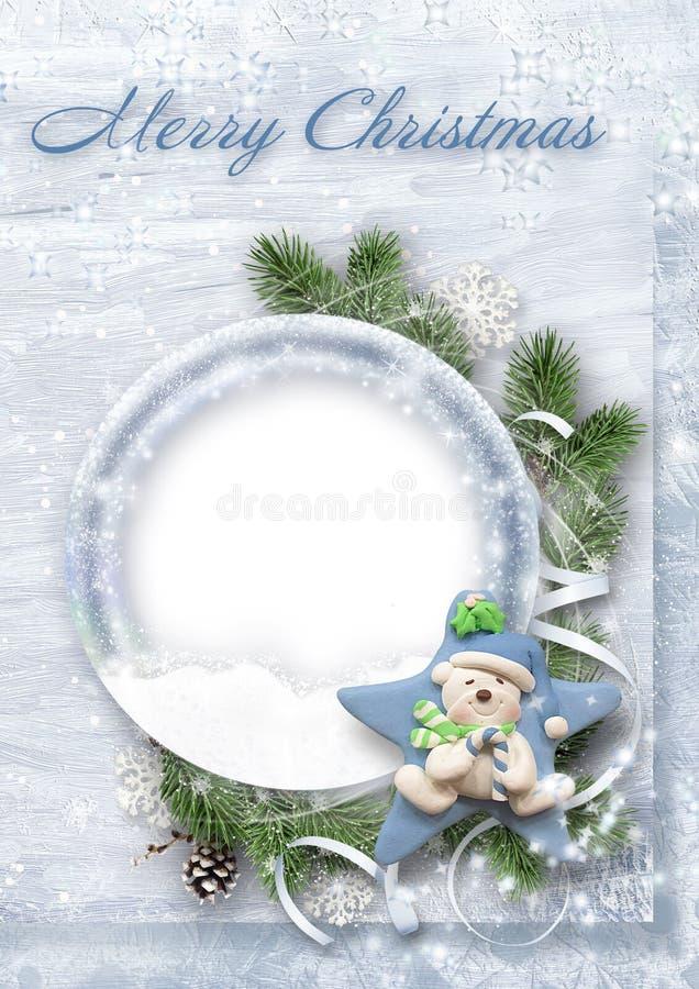 Zoete Kerstkaart voor gelukwensen en familiefoto's vector illustratie