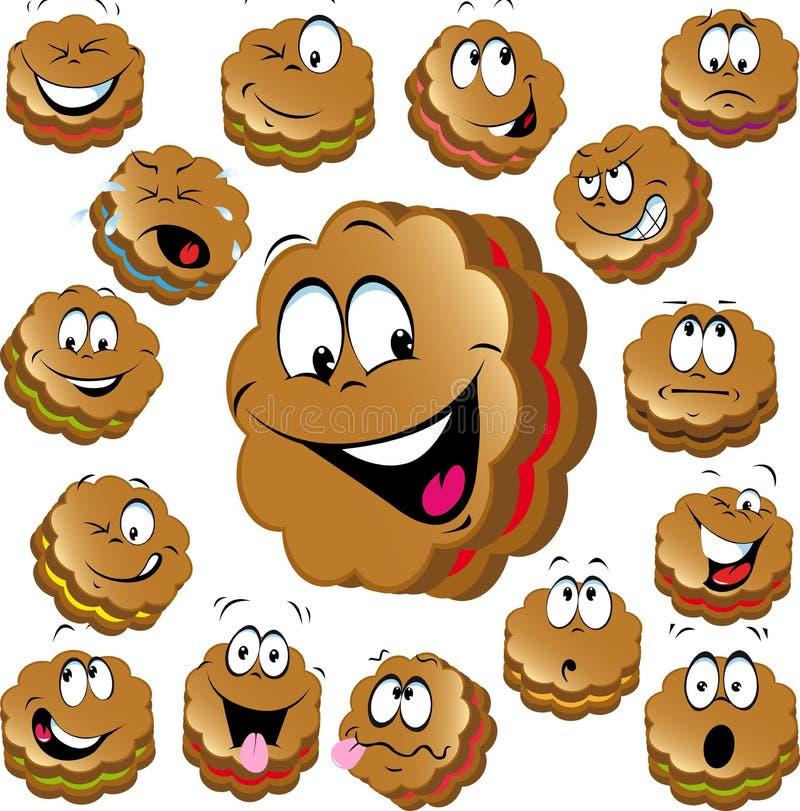 Zoete Kerstmiskoekjes met grappige gezichten vector illustratie