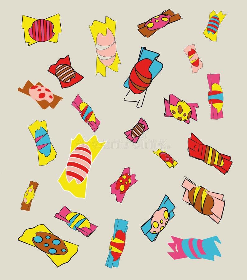 Zoete kleurrijke bonbons vector illustratie