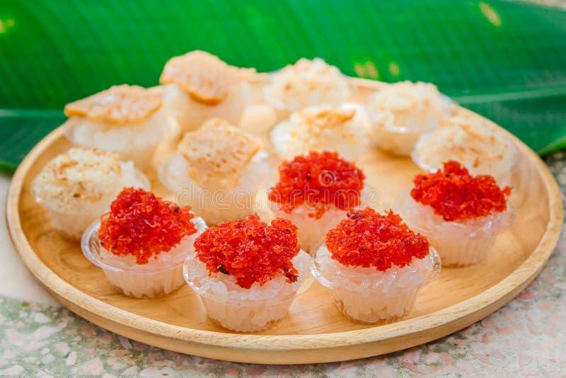 Zoete kleverige rijst met Thais vla en garnalenbovenste laagje, Thais Dessert royalty-vrije stock afbeeldingen