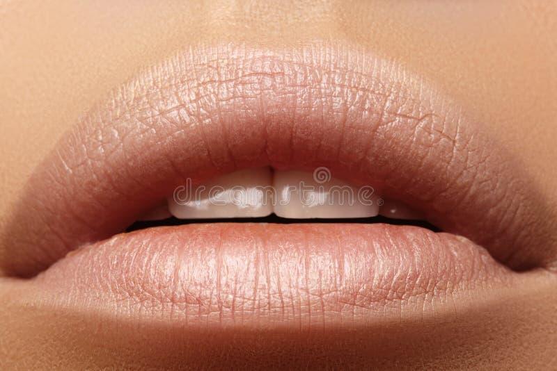 Zoete Kus Perfecte natuurlijke lippenmake-up Sluit omhoog macrofoto met mooie vrouwelijke mond Mollige volledige Lippen stock foto