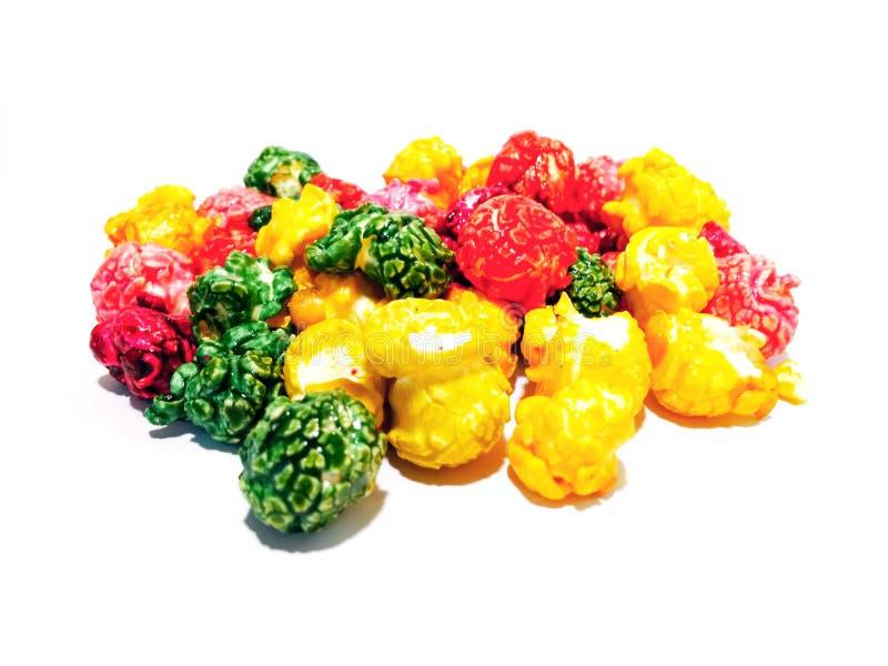 Zoete multi-colored popcorn royalty-vrije stock foto