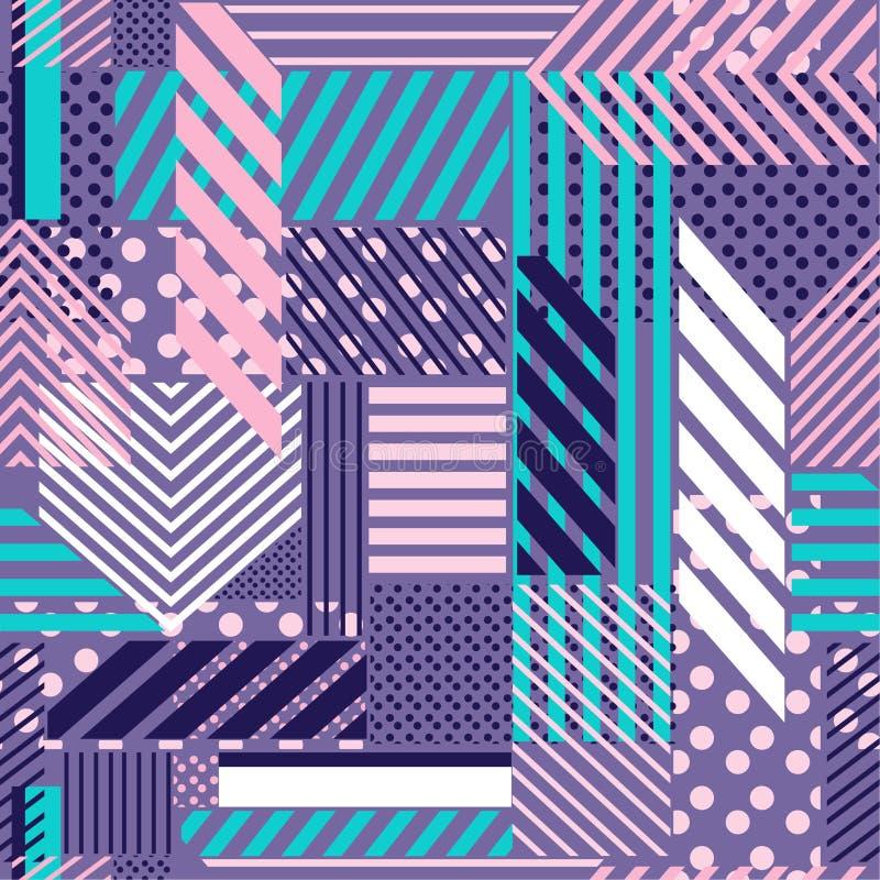Zoete pastelkleurstippen, streep, lijn, patroonmengeling in moderne stijl stock illustratie