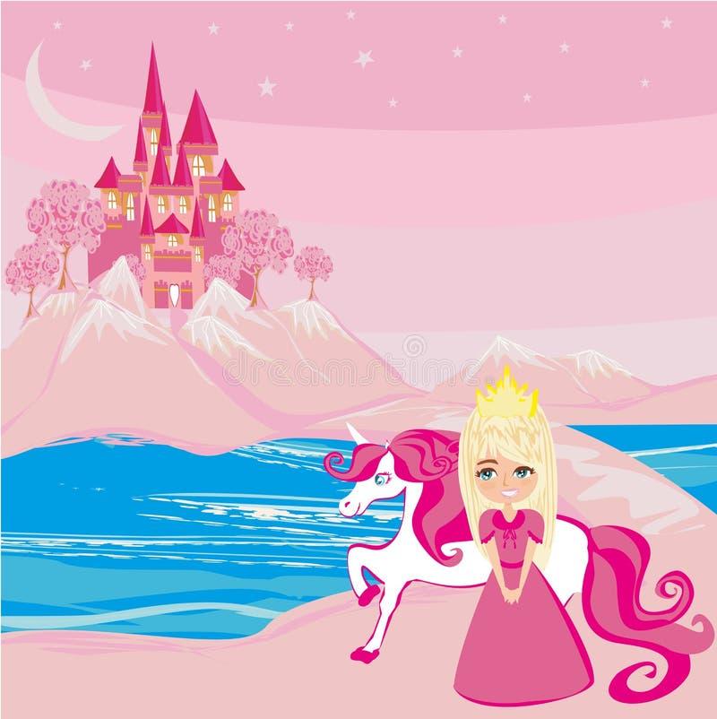 Zoete prinses en haar eenhoorn in een magisch land vector illustratie
