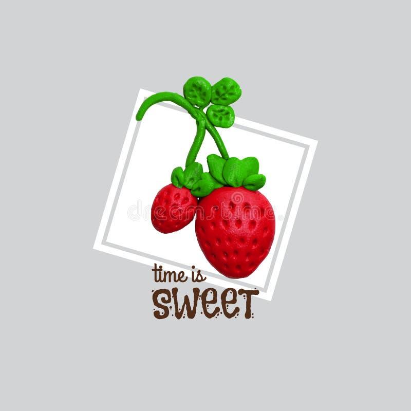 Zoete rode aardbei met plasticine stock illustratie