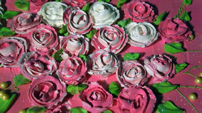 Zoete roze bloemen van room royalty-vrije stock foto