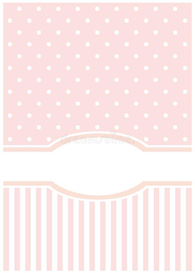 Zoete, roze kaart of uitnodiging; witte stippen stock illustratie