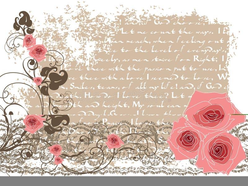 Zoete roze rozen en uitstekend gedicht royalty-vrije illustratie
