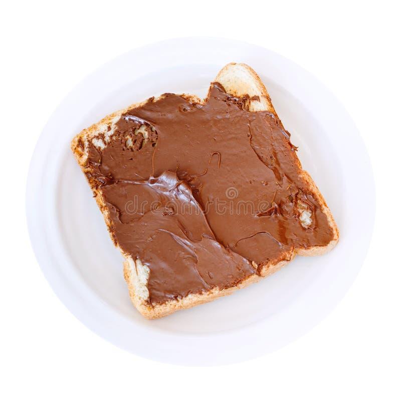 Zoete sandwich - toost met uitgespreide chocolade royalty-vrije stock foto's