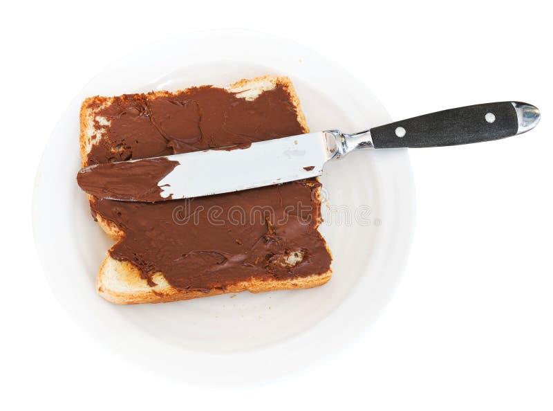 Zoete sandwich - toost met uitgespreide chocolade royalty-vrije stock afbeelding