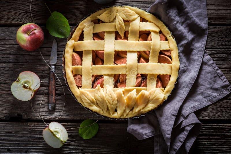 Zoete scherp met appelen met kaneel en verse vruchten stock afbeelding