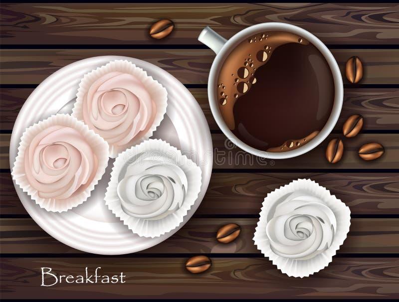 Zoete schuimgebakjes en koffievector Realistische 3d illustratie Hoogste meningen royalty-vrije illustratie