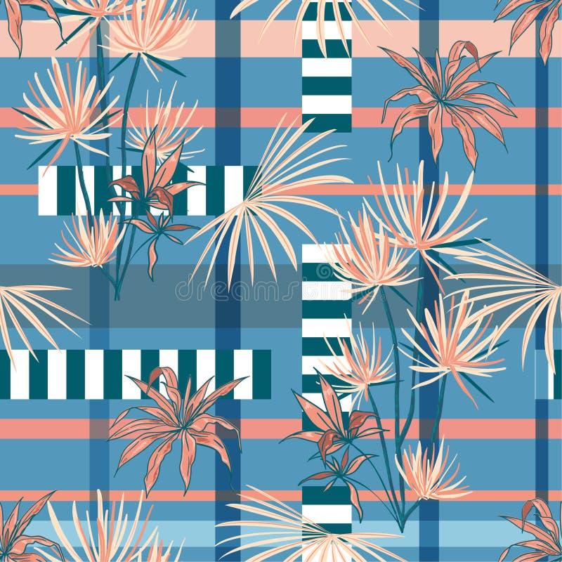 Zoete stemming in een moderne tropische plambomen en bladeren gemengd verstand royalty-vrije illustratie