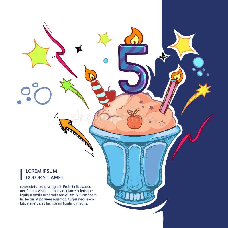Zoete verjaardagscake vector illustratie