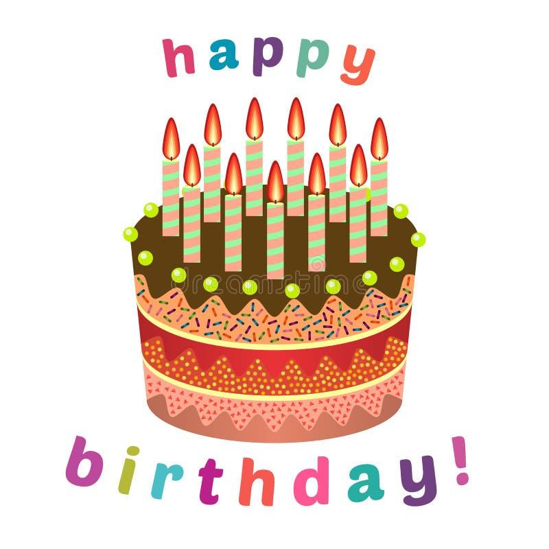 Zoete verjaardagscake met elf brandende kaarsen stock illustratie