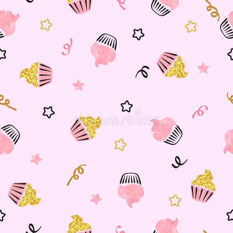 Zoete waterverf en schitterend cupcakes naadloos patroon vector illustratie