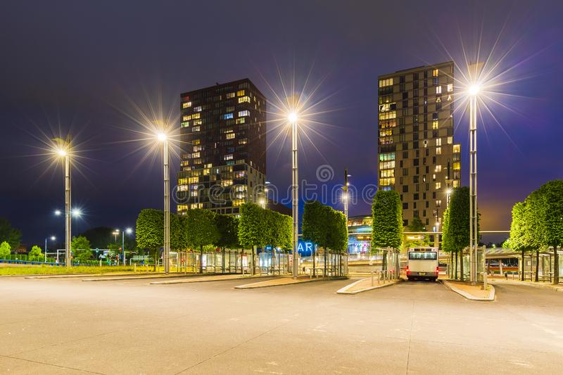 Zoetermeer city skyline and architecture at the bus stop and train station centrum west. At night. HDR High Dynamic Range royalty free stock photo