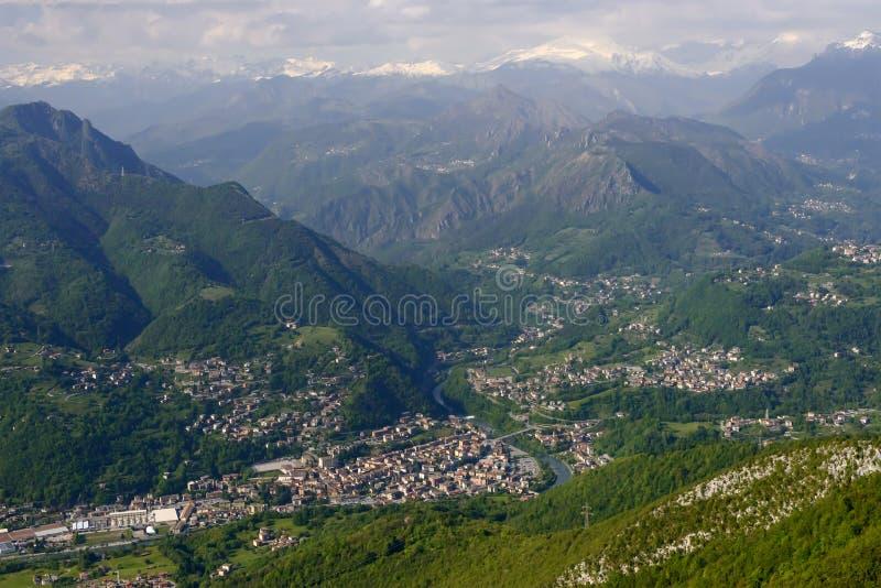 Zogno-Antenne, Italien lizenzfreies stockbild